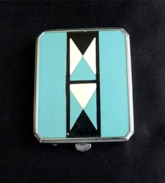 Elgin EAM Art Deco Enamel Decorated Chrome Compact