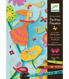 Spring in Acid Colors Felt Tip by Papo. $17.75. Designed by Peggy Nille. Measurements: packaging 9 x 6.5 x 1.75 inches. Age: 6-9. Made in China. Includes two-tip felt markers with softer brush tip at one end and rigid marker tip at the other. Markers are all number coded to match with the colors in teh activity pieces. Markers are water-based but are not washable and will stain clothes. These are more artist quality kits. This kit contains 8 number coded markers...