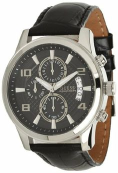 Guess Men's & Women's Stainless Steel Case Black Leather Watch W0076G1 GUESS. $90.10. Round Stainless Steel Case. Black Leather Strap. Analogue Display. Save 15%!