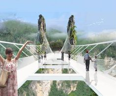 China Opens World's Longest And Highest Glass-Bottom Bridge The Zhangjiajie Grand Canyon Glass Bridge floats 300 meters above the canyon. It is 380 meters long, 6 meters wide with a transparent floor. Zhangjiajie, China Sets, In China, Places To Travel, Places To See, Travel Destinations, Bridge Design, Pedestrian Bridge, Suspension Bridge