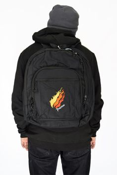"""This classic backpack with Preston's official """"Fire"""" logo, has a large main compartment with a computer sleeve and a zippered front pocket with a mesh organizer. Preston Playz, Web Top, Minecraft Characters, Computer Sleeve, Logo Line, Herschel Heritage Backpack, Black Backpack, Laptop Sleeves, Backpacks"""
