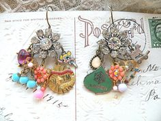 earrings random mix assemblage mismatch charm by lilyofthevally
