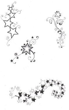 Online Tattoo Vorlage-Sterne mit Schnörkel und Schweif
