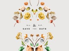 Lisa Hedge illustrations so modern and different; i love this take on a floral wedding invite