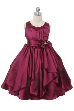 Burgundy Ribbon Sashes Flower Girl Dress