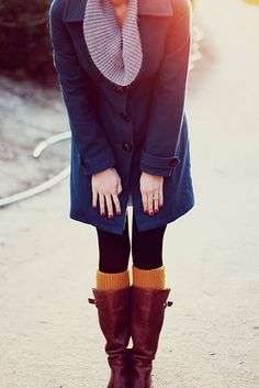 Blue Coat + Grey/Gray Scarf + Black Tights + Mustard Yellow Knee Socks/Leg Warmers + Brown/Cognac Boots