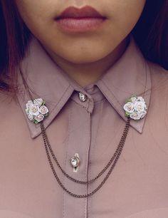 white rose collar tips collar brooch handmade rose от Joyloveclay