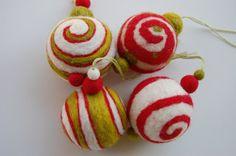 needle felted christmas balls