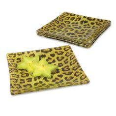 """Appetizer and Dessert Plates Leopard Print (Set of 4) by Wild Eye. $23.95. Set of Four Plates. Wash by hand. Gift Boxed. Glass. Size: 6"""" x 6"""". This delightful Set of 4  Leopard Appetizer Plates are sure to make a statement at your next gathering. Each square plate features a vibrant leopard print. Gift boxed. Glass. Each plate measures 6"""" x 6""""."""