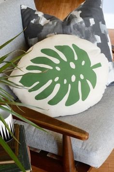 Get Botanical with this DIY Tropical Leaf Pillow