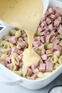 This ham casserole is made with pasta, 3 types of cheese, and a crunchy bread crumb topping! It's a great dish when looking for a way to stretch your leftover ham to feed a crowd. #spendwithpennies #hamcasserole #maindish #pasta #kidfriendly #budgetfriendly #leftoverham Leftover Ham Casserole, Ham And Noodle Casserole, Ham And Cheese Casserole, Leftover Ham Recipes, Easy Casserole Recipes, Casserole Dishes, Ham And Cheese Pasta, Ham Pasta, Pork Casserole