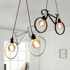 84.51$ Buy here - http://alipei.worldwells.pw/go.php?t=32762337290 - Bicycle Iron Pendant Lights 61*37cm black white bike droplight Restaurant Pendant Lamp Room Bedroom lighting fixture 84.51$