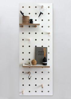 Peg-it-all Midi Pegboard: Wall-mounted Storage Panel in white - Peg-it-all Midi : Wall-mounted Storage Panel in white - Vertical Storage, Hanging Storage, Plywood Furniture, Furniture Design, Pegboard Storage, White Pegboard, Etagere Design, Large Shelves, Shelving