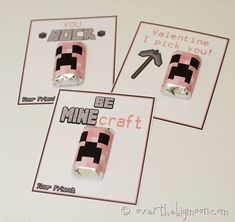 Free Printable Minecraft Valentines in Pink with pink creeper mini candy bar wrappers. They have another set in traditional Minecraft colors with all different sayings!