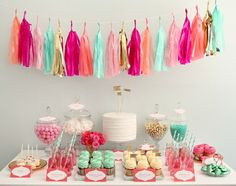 Tissue paper garland.. In pale blue.. Pink, white, gold and hot pink.
