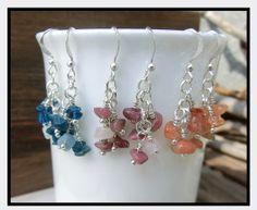 Cluster Gemstone Blue Pink Orange Dangle by OffOnAWhimJewelry, $17.50