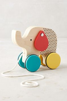 Wooden Elephant Pull Toy #anthropologie
