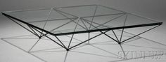 IMAGE: An Alanda coffee table designed by Paola Piva, possibly made by B&B Italia, having a square glass top on a base made of metal rods, Italian, 1980