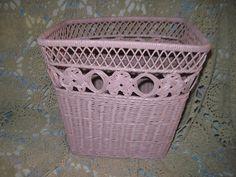 Pink Wicker Waste Basket  /Vintage Basket / by Daysgonebytreasures, $24.00