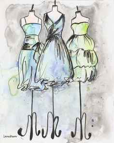 Print - Watercolor and Ink Painting - Vintage Dress Painting - Pale Trio - 8x10. $20.00, via Etsy.
