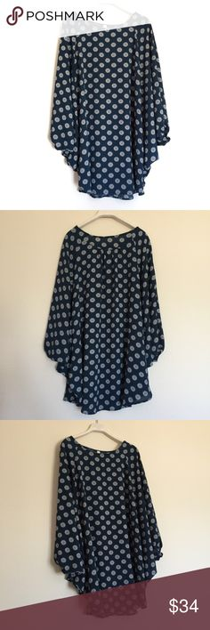 "Navy blue patterned butteryfly bat wing tunic S Beautiful bar wing draping long tunic top with printed pattern. Excellent condition. Length 31"". Bundle to save 25%! Anthropologie Tops"
