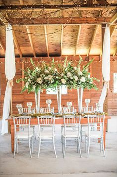 Romantic Savannah wedding inspiration at Red Gate Farms with rustic details from Georgia vendors Vitor Lindo Photo + Video, Bleubelle Bridal, Thrive Catering, Joann's Florist Barn Wedding Venue, Farm Wedding, Wedding Stuff, Wedding Flowers, Rustic Wedding Centerpieces, Reception Decorations, Centerpiece Ideas, Trumpet Vase Centerpiece, Rustic Wedding Inspiration