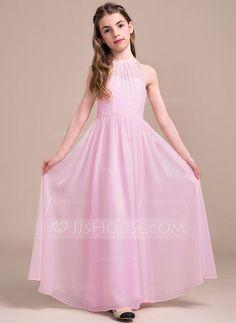 [€ 71.61] A-Line/Princess Scoop Neck Floor-Length Chiffon Junior Bridesmaid Dress With Ruffle