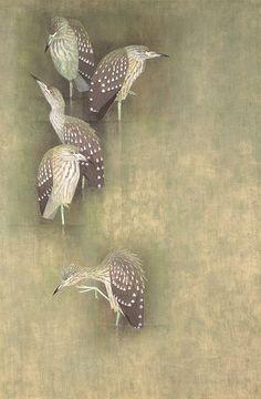 Shoko Uemura's 'Young Birds of Black-crowned Night Heron' (1958)  | THE MUSEUM OF MODERN ART, TOKYO