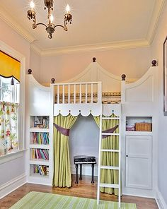 Loft bed, book shelves on each end, dressing room or stage underneath.  #magical-kids-rooms-38.jpg