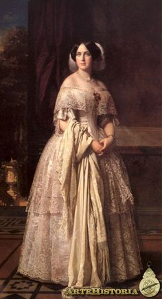 Marquesa Maria Josefa wears a lovely pre-crinoline dress with two lace tiers on her skirt, a wide lace bertha, and a feathered headdress. Victorian Paintings, Renaissance Paintings, Victorian Art, Renaissance Art, Victorian Fashion, Fashion History, Fashion Art, Crinoline Dress, Academic Art