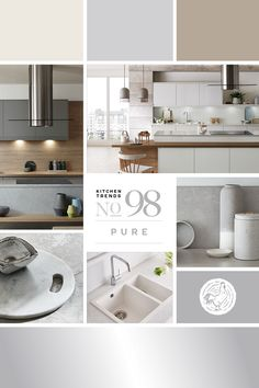 Kitchen trend no. 98 - Pure Organic materials, neutral colours and matt finishes combine for a peaceful, pared back look, turning the kitchen into a safe haven from modern life. Kitchen Design Trends 2018, Latest Kitchen Trends, Howdens Kitchens, Interior Design Institute, Différents Styles, Cuisines Design, New Builds, Joinery, New Kitchen