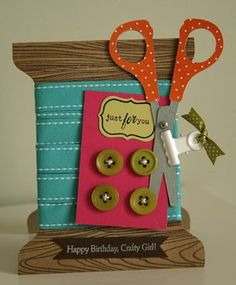 crafty girl card -- would be a cute invite to a craft night