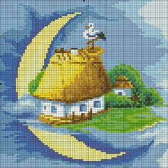 Cross Stitch House, Cross Stitch For Kids, Cross Stitch Designs, Cross Stitch Patterns, Pansies, Cross Stitching, Projects To Try, Embroidery, Sewing