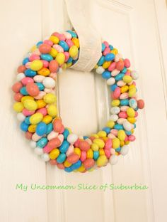 Candy Easter Wreath - My Uncommon Slice of Surbibia- jelly beans and candy eggs Candy Wreath, Diy Wreath, Wreath Ideas, Spring Crafts, Holiday Crafts, Holiday Ideas, Holiday Fun, Holiday Foods, Easter Egg Crafts