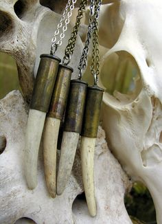Real Deer Antler and Spent Bullet Casing Pendent Necklace by BoneLust on Etsy