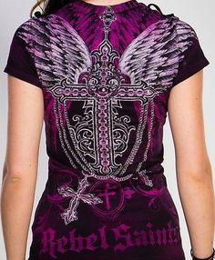 Rebel Saints AFFLICTION Tattoo CHARMED CROSS Wings Biker SINFUL T-SHIRT WOMEN XL