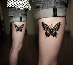 Tatuagem Borboleta Dotwork Coxa por Kamil Czapiga