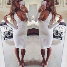 e271cd062551 Women Long Sleeve Spring Fall Dress 2015 Sexy Club Dress Slim Pencil Mini  Bodycon Vestidos Party Low Cut Deep V Neck Dresses