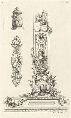 Sixième Livre de l'Oeuvre (de Meissonnier), projets de cadres: derde blad, Juste Aurèle Meissonnier, Gabriel Huquier, Gabriel Huquier, 1733