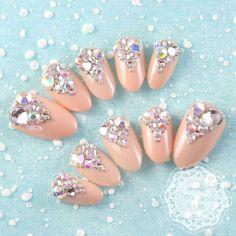 Japanese 3D Nail Art, Press On Nails, False Nails - Sparkling Rhinestones Nude Nails (T130K). $25.00, via Etsy.