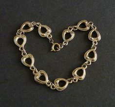 Silver Tone Heart Link Bracelet by MaisonChantalMichael on Etsy, $24.00
