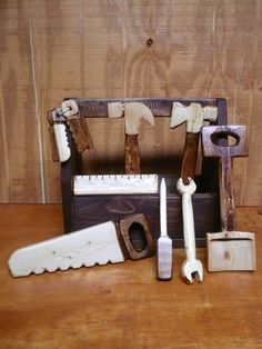 Wood Tool Set 9pc by FirstCraftCreations on Etsy