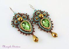 Green Bronze Embroidery Earrings Crystal by ThezoraArtBijoux Rhinestone Earrings, Bridal Earrings, Crystal Earrings, Dangle Earrings, Crochet Earrings, Handmade Jewelry, Unique Jewelry, Chandelier Earrings, Statement Jewelry