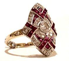 Estate Jewelry - Ruby & Diamond Shield Ring