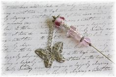 Silver Butterfly Charmed  Decorative Pin for Scrapbooking Rosy Pink. $5.25, via Etsy.