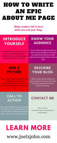 Your about me page should be well crafted because it's the most read and visited page on your blog.Here is a simple guide to help you write an epic about me page#aboutmepage#epicaboutmepage#killeraboutmepage#perfectaboutmepage#bloggingtips#bloggingtipsforbeginners#