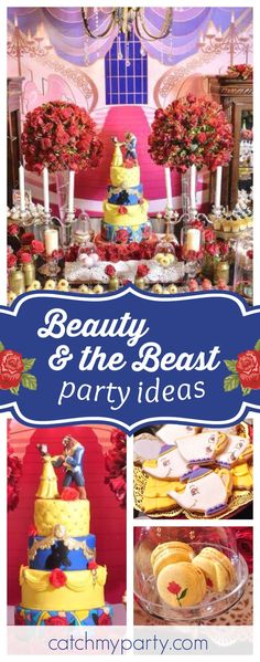 Don't miss this stunning Beauty and the Beast birthday party! The cake is out of this world!! See more party ideas and share yours at CatchMyParty.com