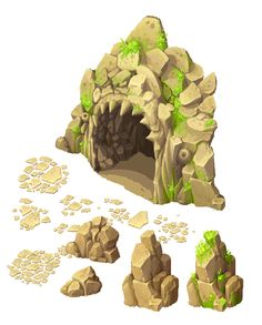 Cave entrance and stones by Ainama.deviantart.com on @deviantART