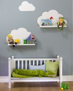{ DIY } cloud shelves using ikea ribba ledges and a wall decal (or paint directly onto wall) Baby Bedroom, Baby Boy Rooms, Nursery Room, Girls Bedroom, Nursery Decor, Nursery Ideas, Kids Rooms, Ikea Nursery, Childs Bedroom