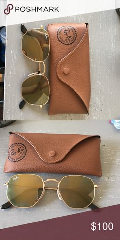 Hexagonal ray-ban sunglasses Worn once! No scratches, seriously good as new! Ray-Ban Accessories Sunglasses